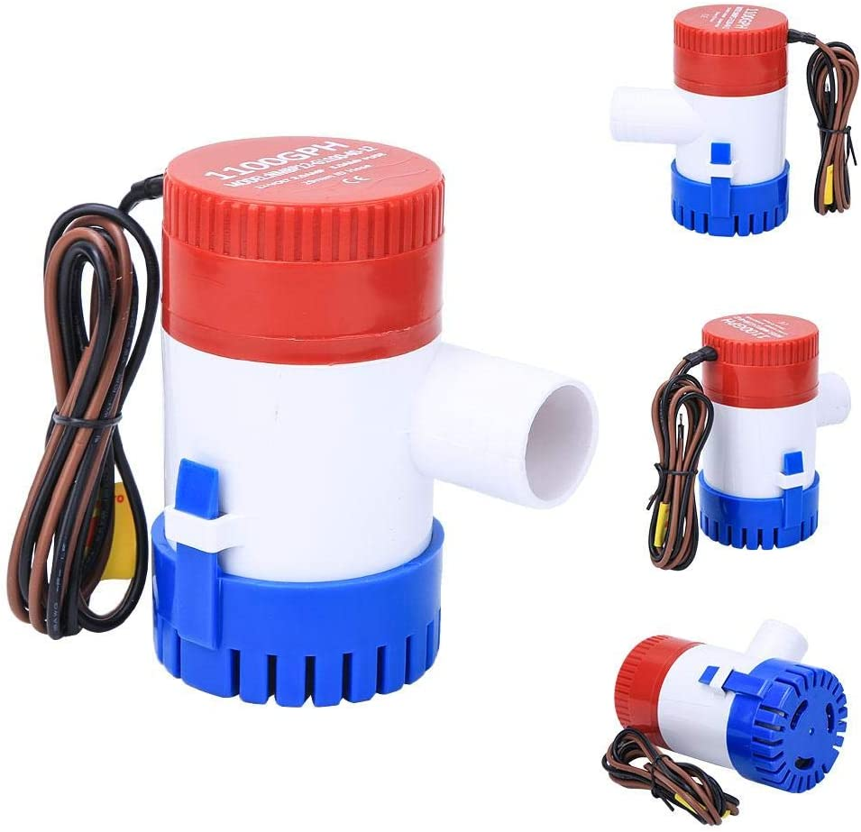 Wakects Boots-Wasserpumpe Mini-Bilgenpumpe DC12V 1100 GPH Automatische Tauch-Bilgenwasserpumpe mit Schwimmerschalter f/ür Wohnwagen