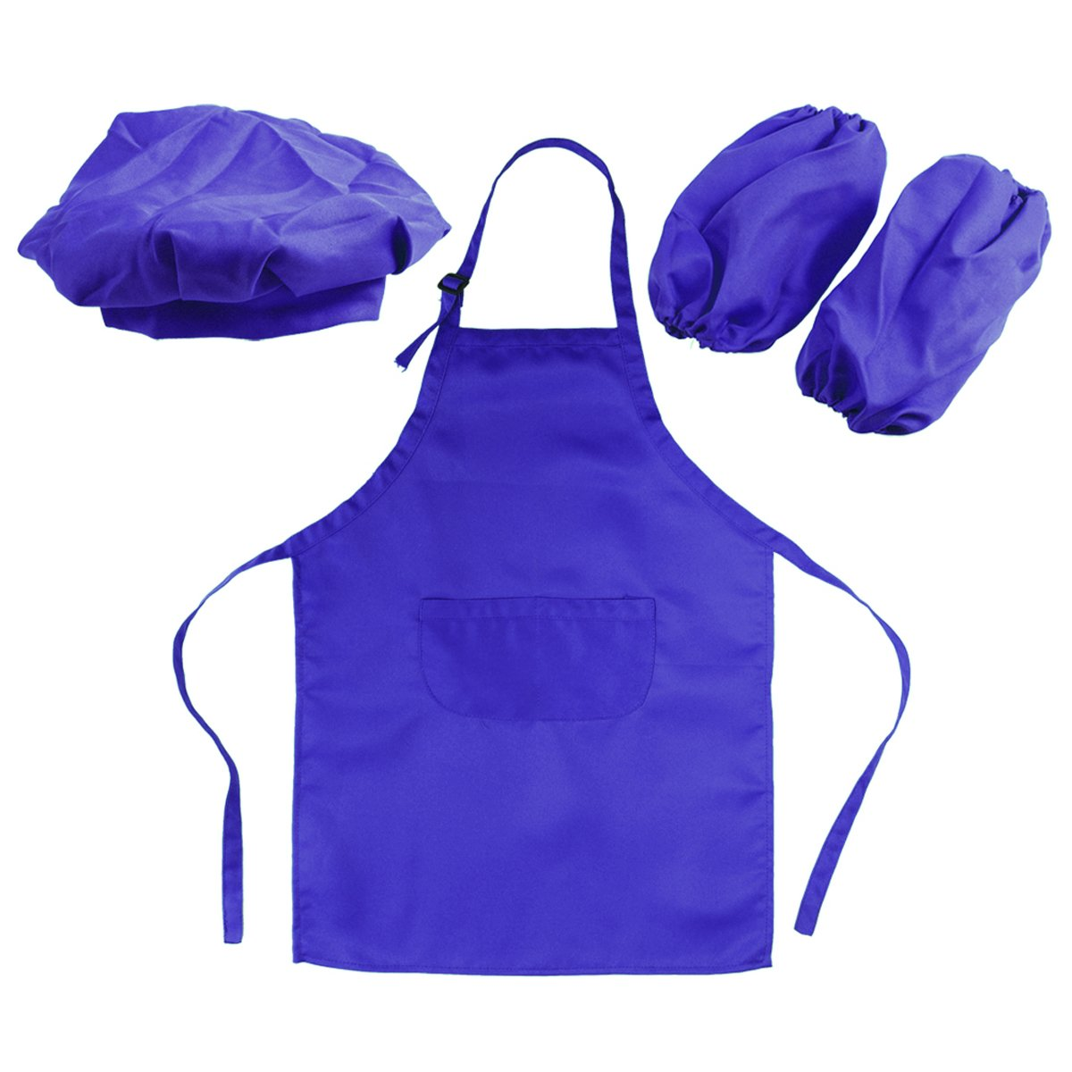 OUNONA Kids' Chef Kit - Kids Kitchen Gift Playset with Chef's Hat Apron Cooking Sleeve for Cooking(Blue)