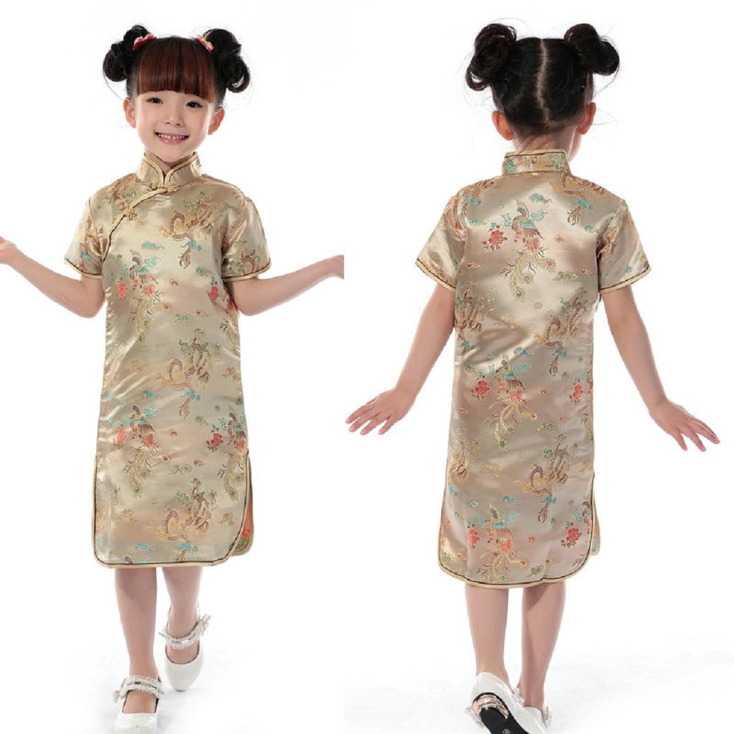 Chinese Girls Cheongsam Dragon & Phoenix Tails Style Brocade Qipao Dress For Kids Height 80cm-150cm (8 (110cm height), Dragon&Phoenix-Gold)
