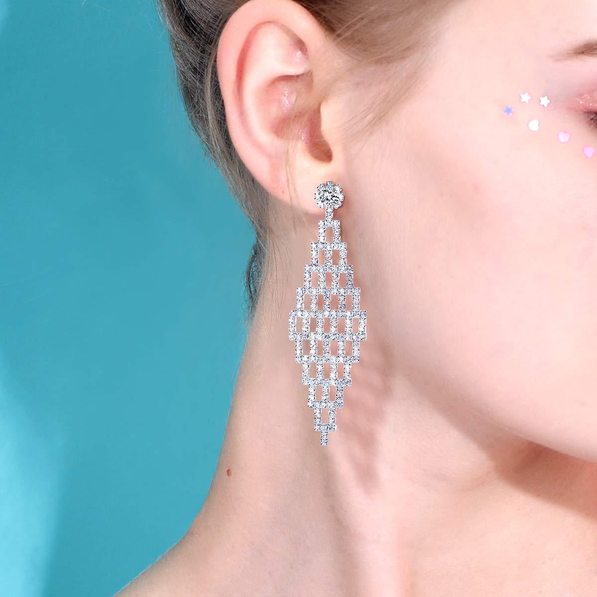 FOCALOOK Women Wedding Sparkling Silver Plated Long Tassel Crystal Rhinestone Drop Dangle Bridal Earrings