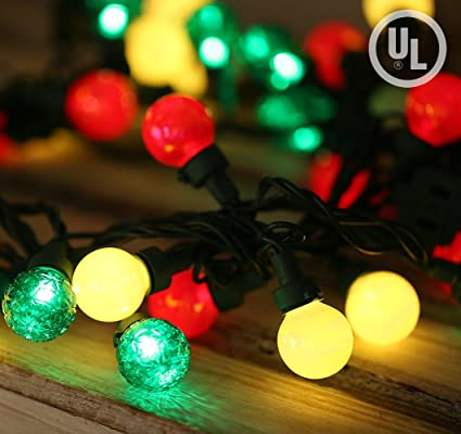 bohon globe string lights 50 bulbs g25 christmas lights multi color with pearlized glass bulbs outdoor