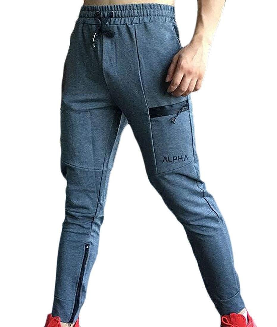 Wofupowga Mens Elastic Waist Fitness Slim Stretchy Training Running Pants Trousers