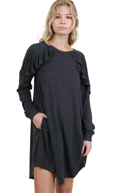 Charcoal Umgee Womens Long Sleeve Pocket Dress