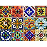 Tile Stickers Mexican Spanish 40pc 4-1/4in Peel and Stick for kitchen and bath Tr001-4Q