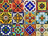 SnazzyDecal Tile Stickers 4x4in 24pc Inch Kitchen Backsplash Bathroom Vinyl Waterproof Peel and Stick Mexican Talavera TR001