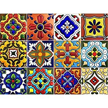 SnazzyDecal Tile Stickers 4x4in 40pc Inch Kitchen Backsplash Bathroom Vinyl  Waterproof Peel And Stick Mexican Talavera