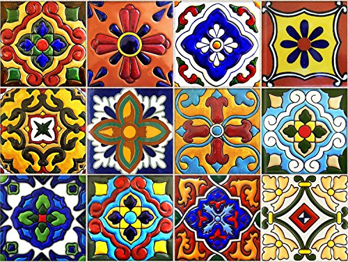 Mexican Bathroom Decor (Tile Stickers 4x4 Inch 40pc Inch Kitchen Backsplash Bathroom Vinyl Waterproof Peel and Stick Mexican Talavera TR001)