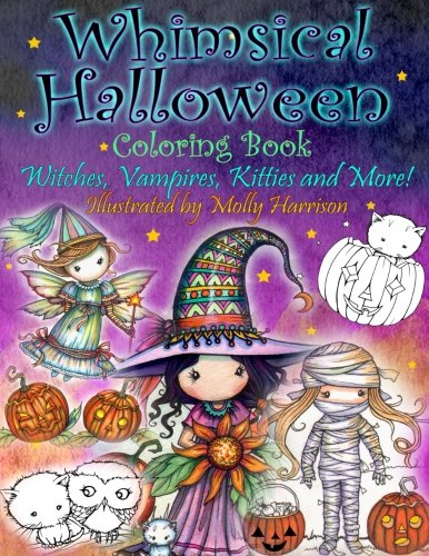Whimsical Halloween Coloring Book: Witches, Vampires Kitties and More! -
