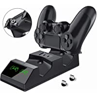 PS4 Controller Charger Station Dual Charger Dock with 2 Micro USB Charging Dongles for PS4 PS4 Slim PS4 Pro Controller