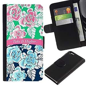 EJOY---La carpeta del tirón la caja de cuero de alta calidad de la PU Caso protector / Apple Iphone 6 / --Se Superior Texto 420 Azul Rosa floral