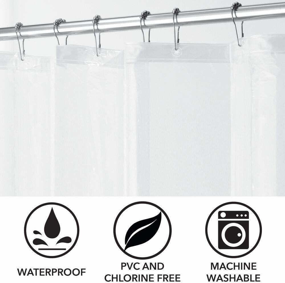 con/çu sans produits toxiques rideau de baignoire mDesign lot de 2 rideau de douche rideau de bain 100/% PEVA transparent