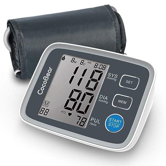 Monitor de presión arterial, monitor de pulsera de presión arterial de CocoBear en la parte superior del brazo, almacenamiento de memoria 2 * 90: Amazon.es: ...