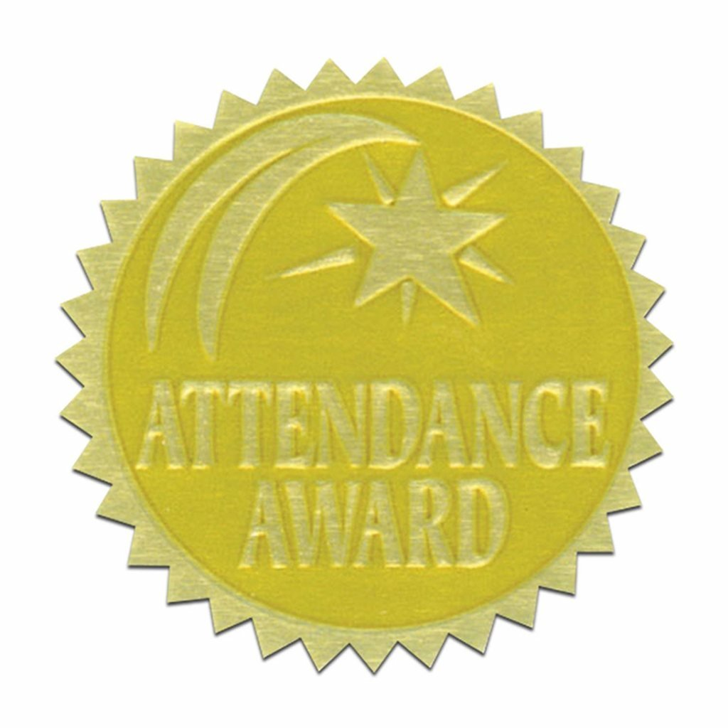 Self-Adhesive 1 3/4'' Gold Foil Stamped Certificate Seals - Attendance Award - 216 Total! by Hayes