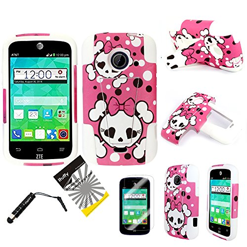 (TM) LCD Screen Protector Film + Stylus Pen + 2 tone Design Dual Layer KickStand Tuff Impact Armor Hybrid Soft Rubber Silicone Cover Hard Snap On Plastic Case for 2nd Generation ZTE Whirl2 Z667G / ZTE Prelude2 Z667T / ZTE Zinger Z667 (Pink Girly Bow Skull - White) ()