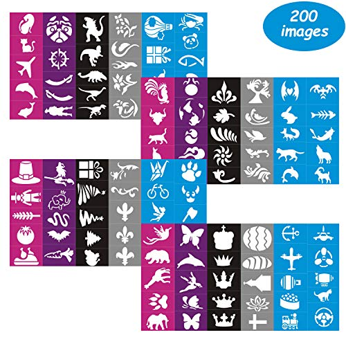 (Lystin Face & Body Paint Stencils Kit for Kids (200 Pieces) - Reusable, Soft and Easy to Stick Down - Tattoo Stencils, Glitter Temporary Tattoos for Kids School Carnival Birthdays)