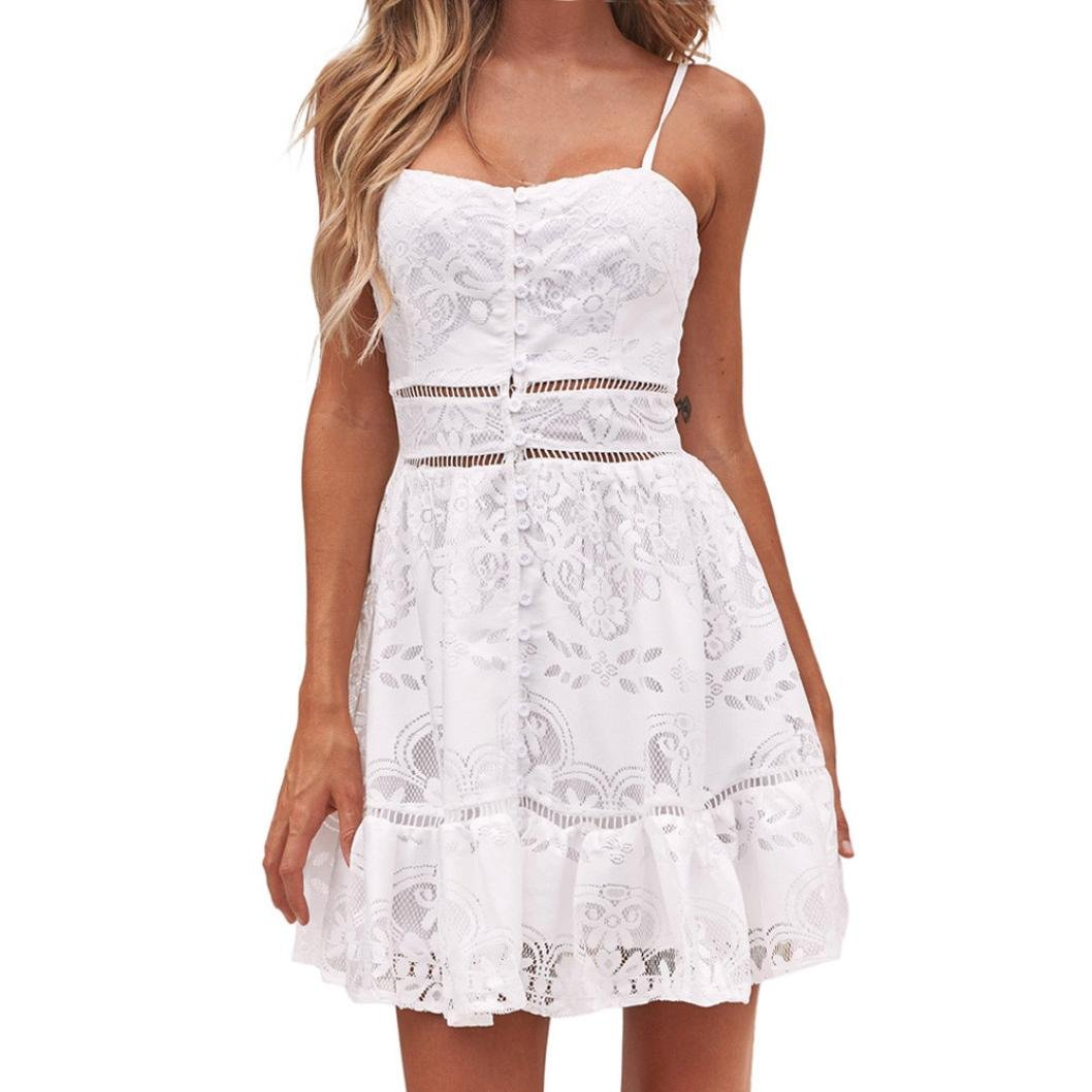 Women Dress JJLOVER Lace Backless Spaghetti Strap Short Dress Button Patchwork Solid Sexy Casual Evening Party Dress (White, S)