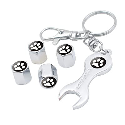 INCART Universal Stainless Steel (4pcs) Car Tire Caps Car Valve Stem Air Cover Caps + (1pcs) Keychain Cool Bear's Paw Classic Fashion Silver: Automotive