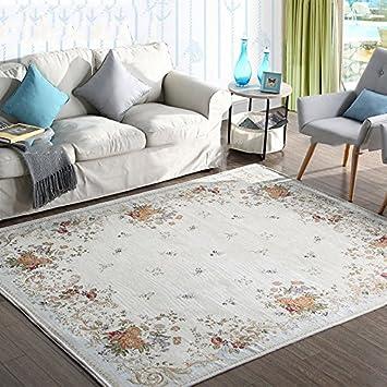 WTL Teppich American Style Teppich Wohnzimmer Pastoral Couchtisch  Schlafzimmer Bedside Blanket Mittelmeer Stil Waschbar ( Farbe