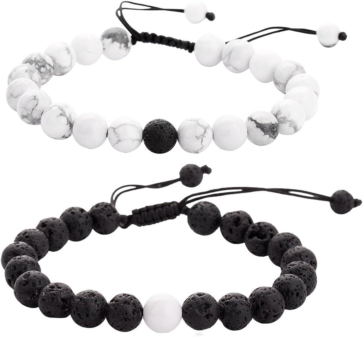 Healing Crystal Bracelet Boho Bracelets Rose Quartz Lepidolite Hematite Bracelet Stack Set of 3 Stretchy Bracelets Gemstone Bracelet