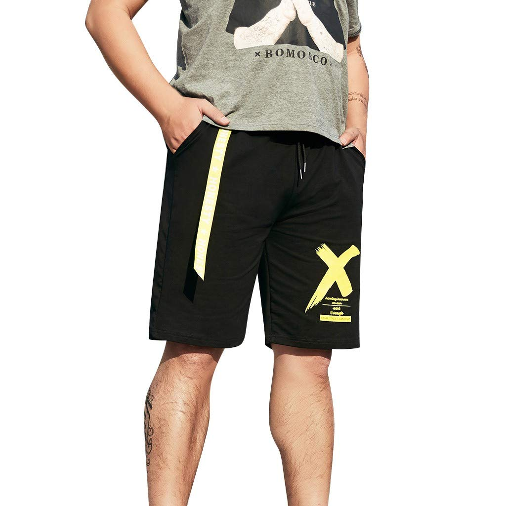 HOSOME Men's Casual Big Size Shorts Men's New Summer Style Fashion Printed Shorts Sports Comfort Shorts with Pockets Black