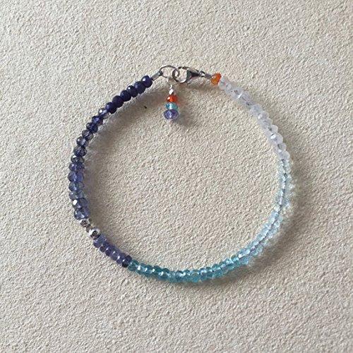 - JP_Beads Moonstone Aquamarine Sky Blue Topaz Apatite Tanzanite Iolite Blue Sapphire Karen Hill Tribe Thai Bracelet, Sundance Style Boho 3-4mm