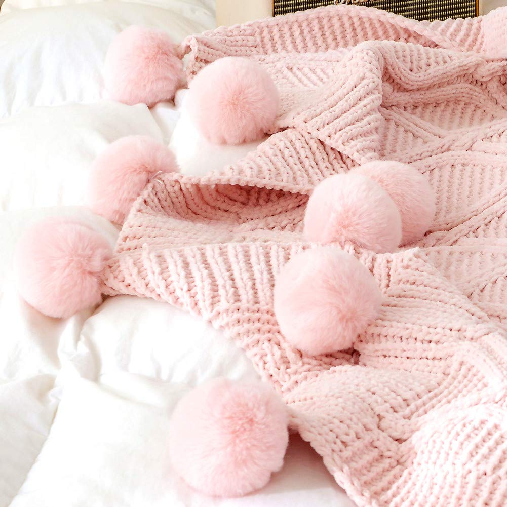 Prosshop 51.18/×59.05, Pink Chenille Plush Throw Blanket Luxurious Lovely Lounge Cover Knitted Blanket with Handmade Pom Poms for Sofa//Bed//Couch//Living Room//Office