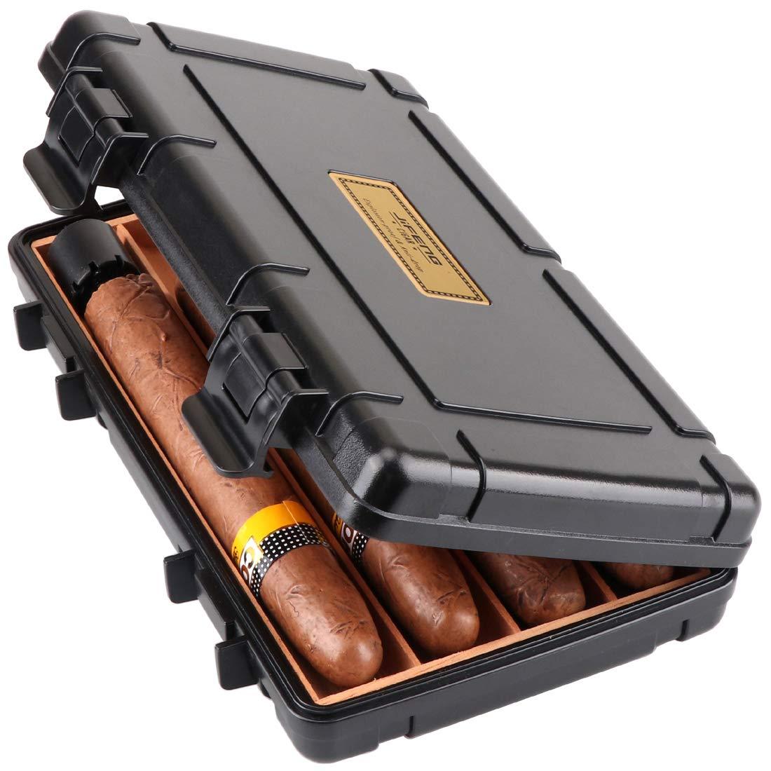 XIFEI Cigar Humidor Cedar Wood Travel Portable Waterproof Cigar Case with Humidifier (Big)