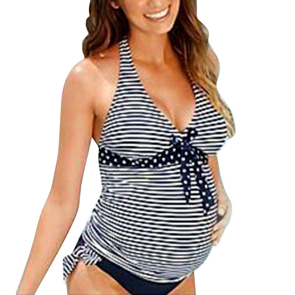 Damen Swimsuit Umstandsbadeanzug Streifen Bademode Highdas zwei Stück Frauen Badeanzug Monokini Oberteile + Höschen L--XXXL T170623B01