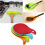 HENGSONG Spoon Rest, Kitchen Silicone Spoon Holders for Kitchen Accessories, Spoons, Spatula, Brushes, Cutlery (Red)
