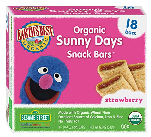 Earth's Best Organic Sunny Days Snack Bar, Strawberry, 18 Count (Pack of 6)