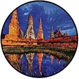 Printing Round Rug,Asian,Group of Historical Stone Temples by River Pagoda Zen Wisdom Eastern Image Print Decorative Mat Non-Slip Soft Entrance Mat Door Floor Rug Area Rug For Chair Living Room,Blue C