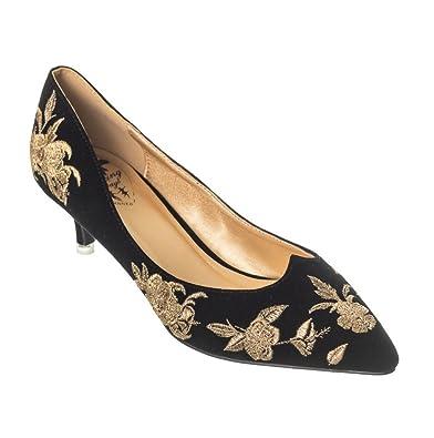 b6d93072585a Banned Magic Dance Black Gold Velvet Embroidered Kitten Heel Shoes ...
