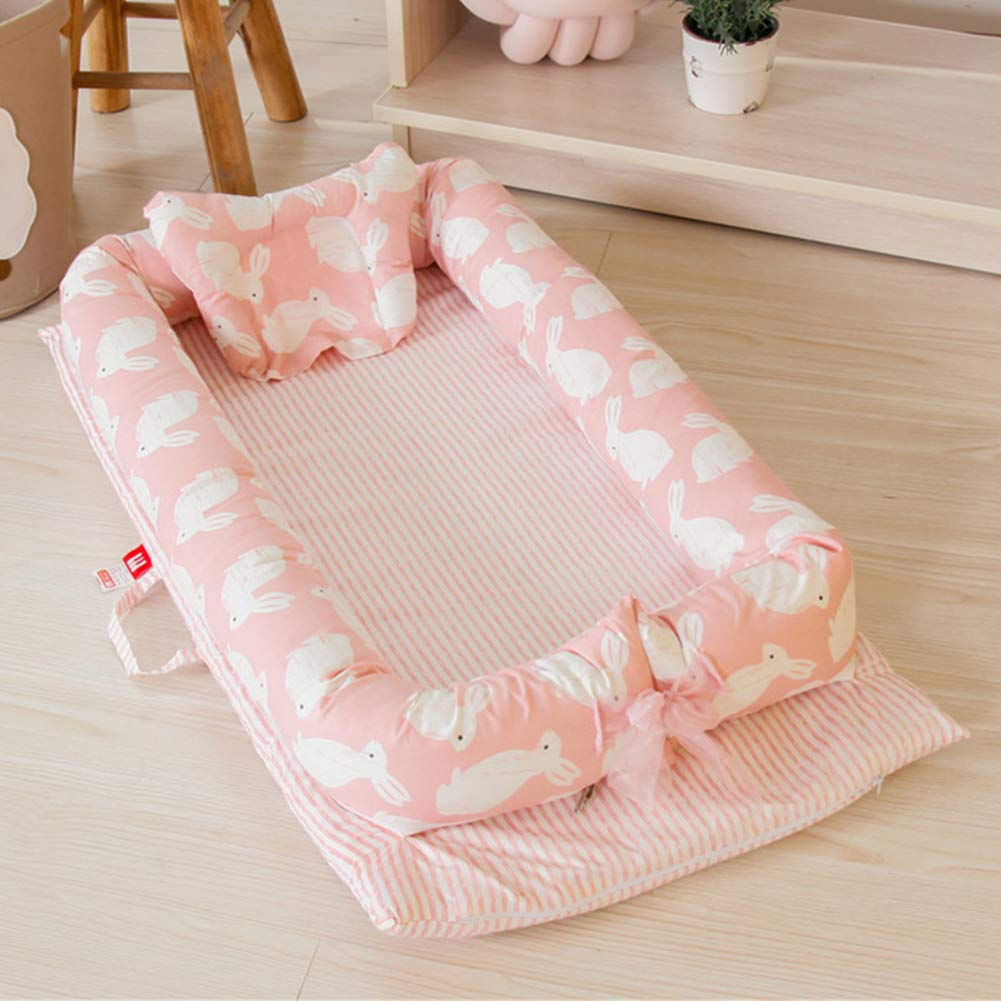 Baby Newborn and Infant Lounger, Portable Bassinet, Nest for Cosleeping - Breathable & Hypoallergenic - 100% Cotton Portable Crib for Newborn 0-24Months Pink Rabbit by JHion