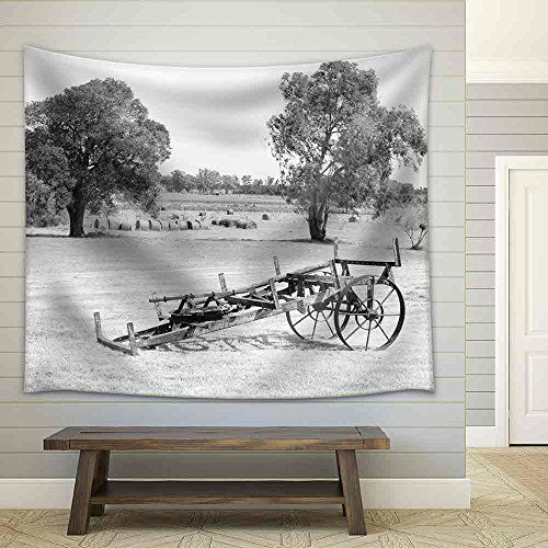 Antique Farming Equipment Monochromatic Image Fabric Wall Tapestry