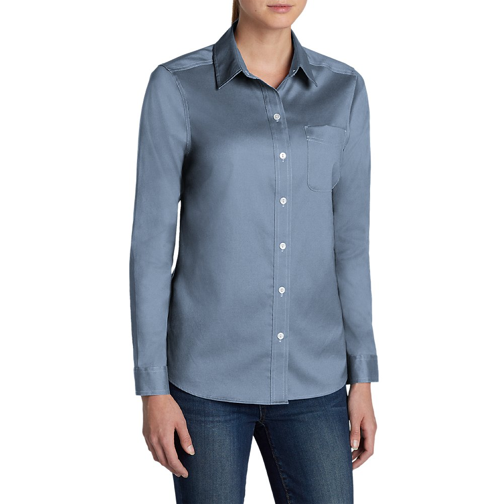 Eddie Bauer Women's Wrinkle-Free Boyfriend Long-Sleeve Shirt 20801294