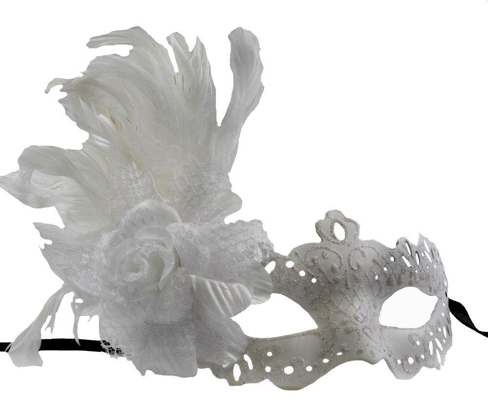 RedSkyTrader Womens Elegant Wedding Venetian Mask One Size Fits Most White
