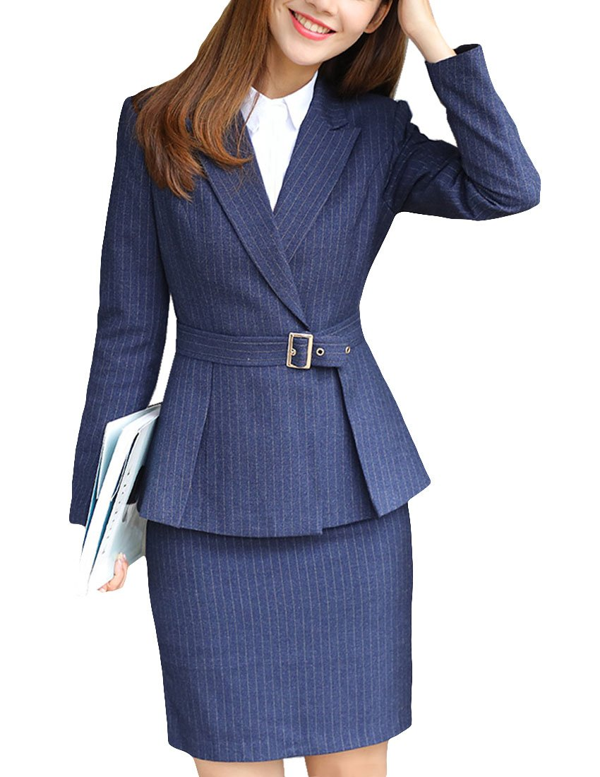 MFrannie Women Stripe Notch Lapel Belted Blazer and Suit Skirt Set