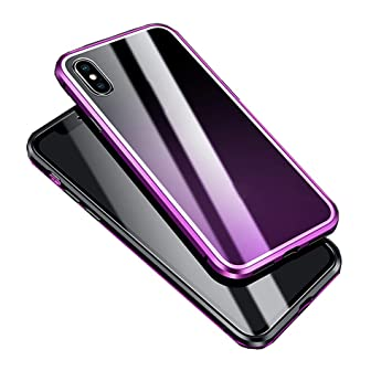 Amazon.com: Voberry Magnetic Adsorption Metal Bumper Glass Case Protective Cover Compatible iPhone XS Max 6.5 inch (Purple): Beauty