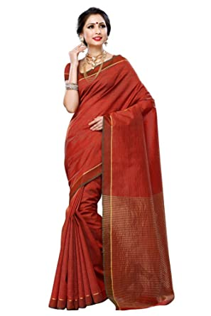 c4e903ff006d9d Amazon.com  Mimosa Women SArt Raw Plain Silk Saree Wilth self Checks ...