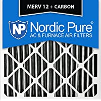 Nordic Pure 16x16x1PM12C-6 Pleated MERV 12 Plus Carbon AC Furnace Filters (6 Pack), 16 x 16 x 1