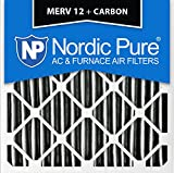 Nordic Pure 18x18x1 MERV 12 Pleated Plus Carbon AC Furnace Air Filters, 18 x 18 x 1, 3 Piece