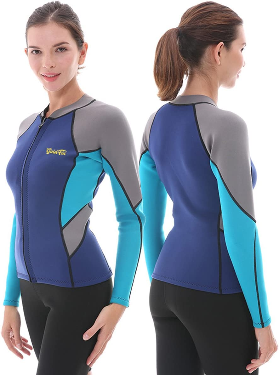 GoldFin Women's Wetsuit Top, 2mm Neoprene Wetsuit Jacket Long Sleeve Front Zip Wetsuit Shirt for Swimming Water Aerobics Diving Surfing Kayaking…