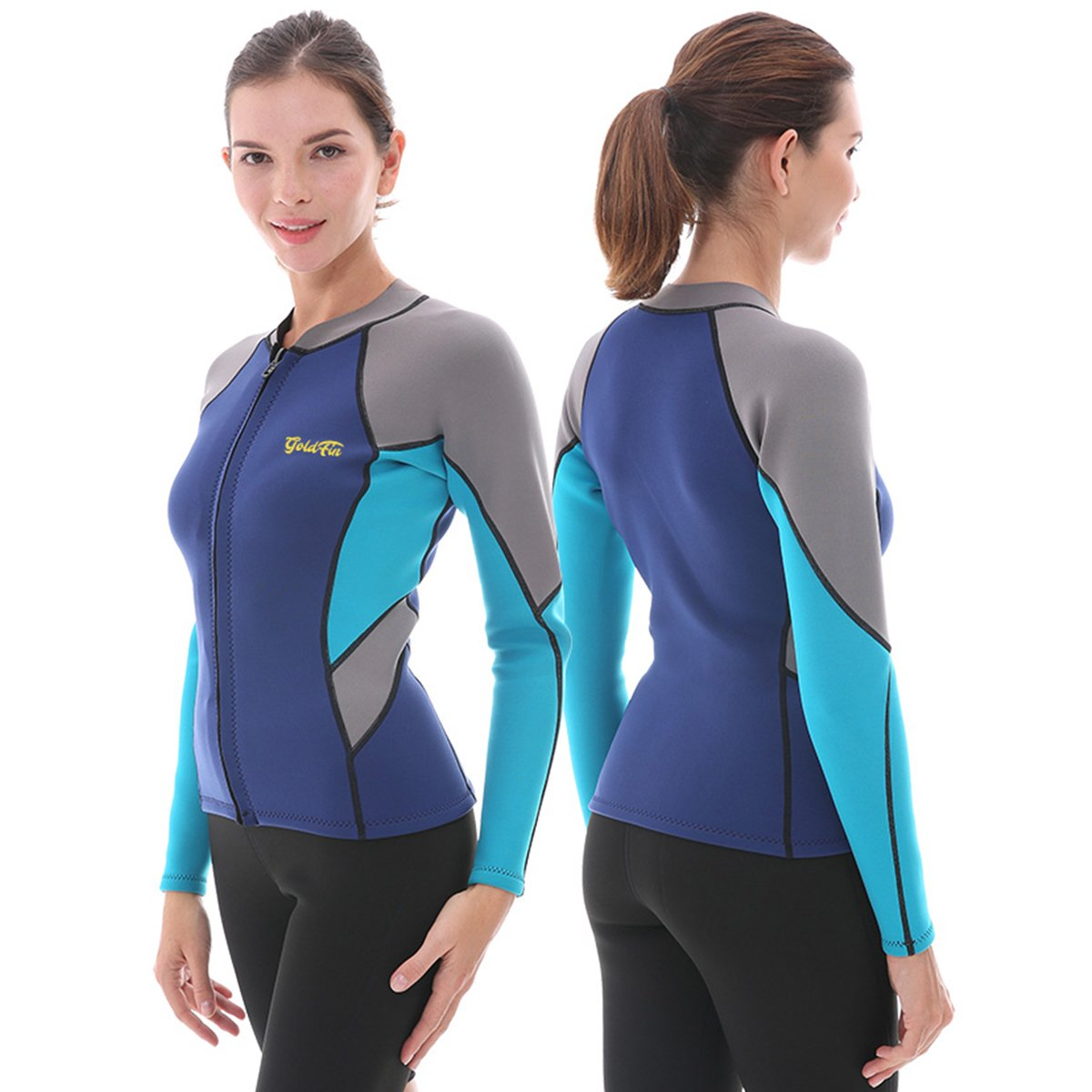 Goldfin Women's Wetsuit Top, 2mm Neoprene Wetsuit Jacket Long Sleeve Front Zip Wetsuit Shirt for Diving Snorkeling Surfing Kayaking Canoeing (Navy, S)