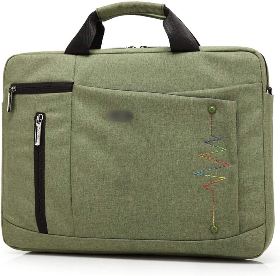 Color : Green, Size : 15inch Hemengjuan Men Business Computer Bag Waterproof Shoulder Bag