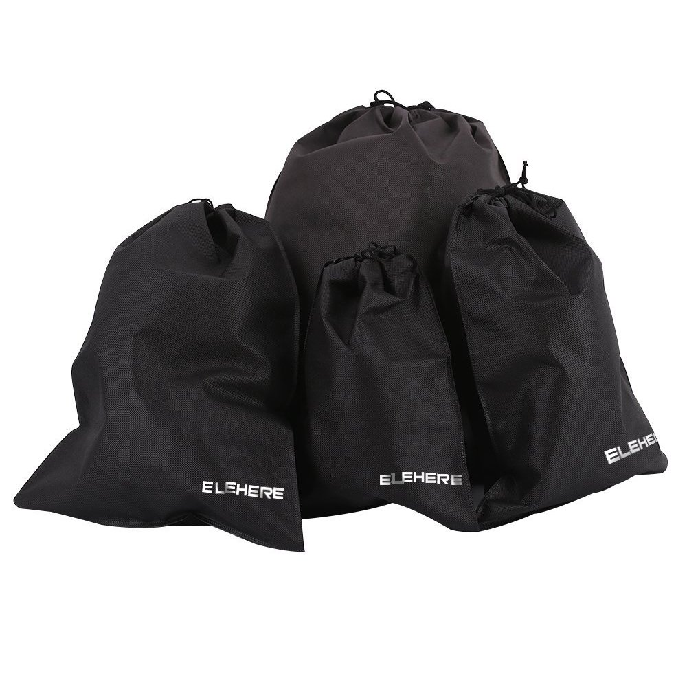 elehere 10個不織布旅行靴バッグwith Drawstring Footwear Carrying、耐久性再利用可能な防水ポケットfor IDカードアクセサリーランドリーバッグ 17.7 Inch by 21.6 Inch ブラック B07FCDHFVM ブラック 17.7 Inch by 21.6 Inch
