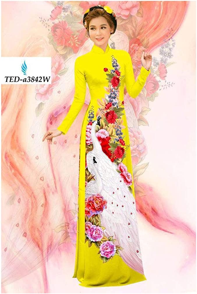 Silk 3D ADVN0405202081 Traditional Vietnamese Long Dress Collections with Pants Ao Dai