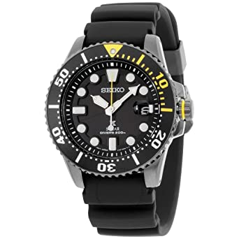 Amazon.com  Seiko Prospex Divers Solar Mens Black Silicone Watch ... 4df387350