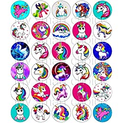 30 x Edible Cupcake Toppers – Magical Unicorns Fun Party Themed Collection of Edible Cake Decorations | Uncut Edible Prints on Wafer Sheet
