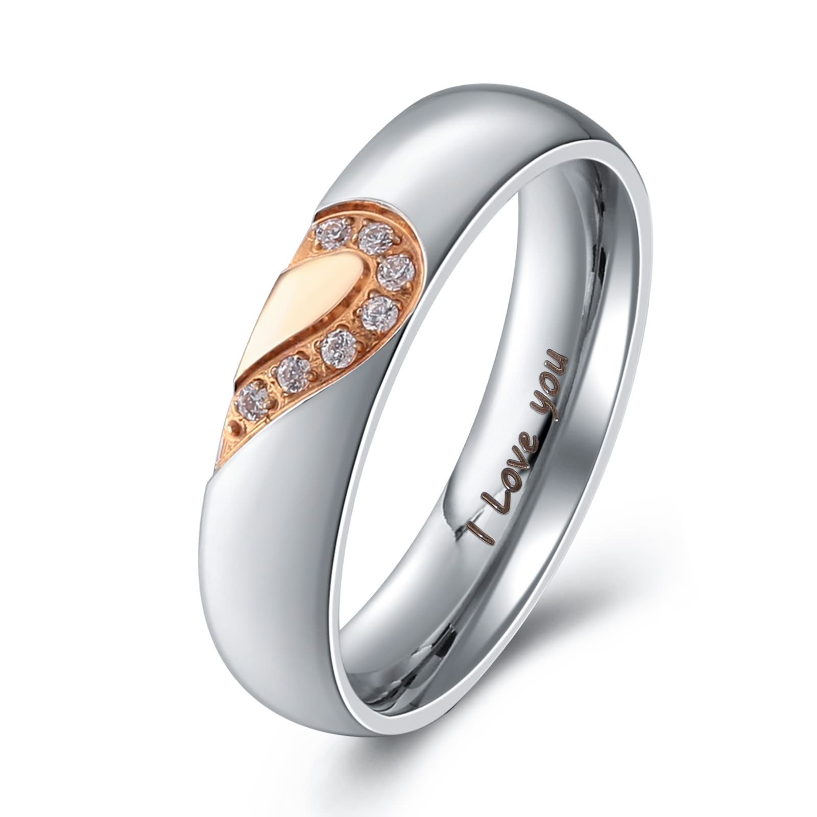Aienid Rings Men and Women Couple Rings Heart I Love You Stainless Steel Wedding Bands for Womens Size 7 by Aienid (Image #2)