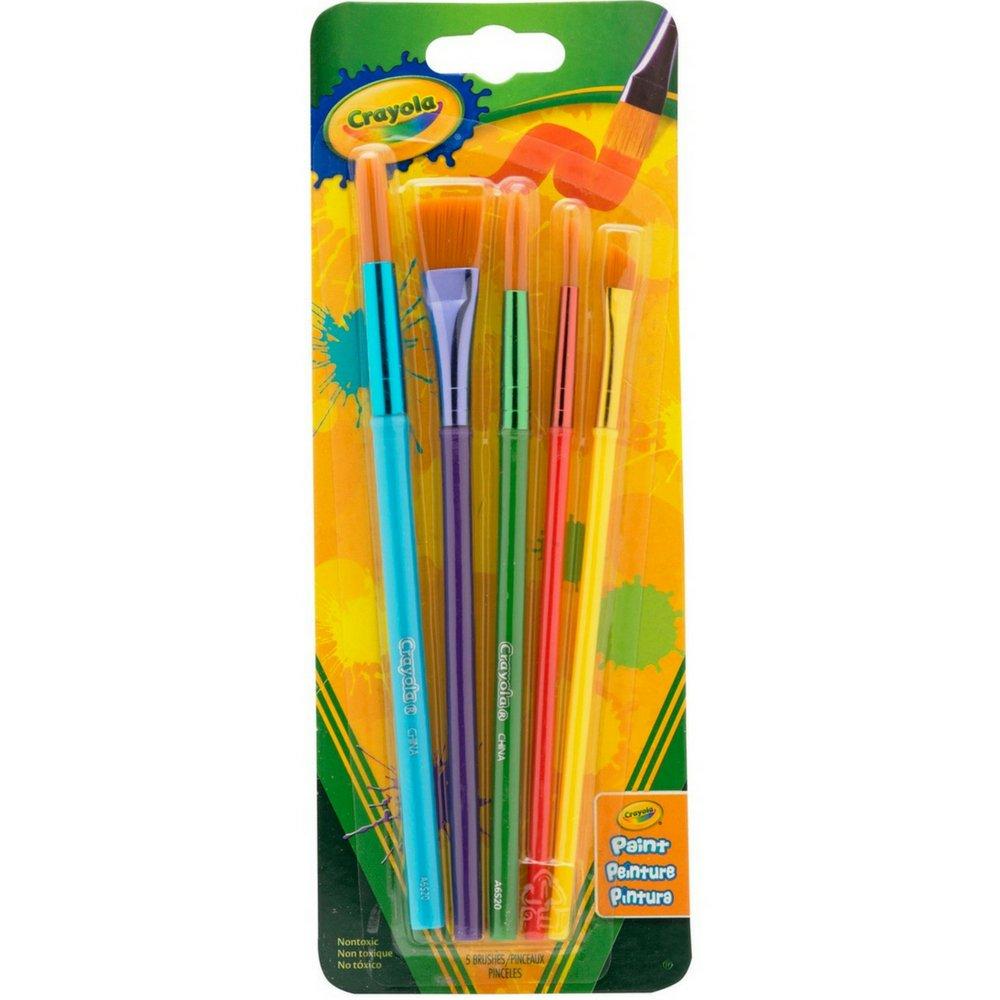 Pack of 5 BIN053506 Crayola Arts /& Craft Brushes Assorted 1 ea